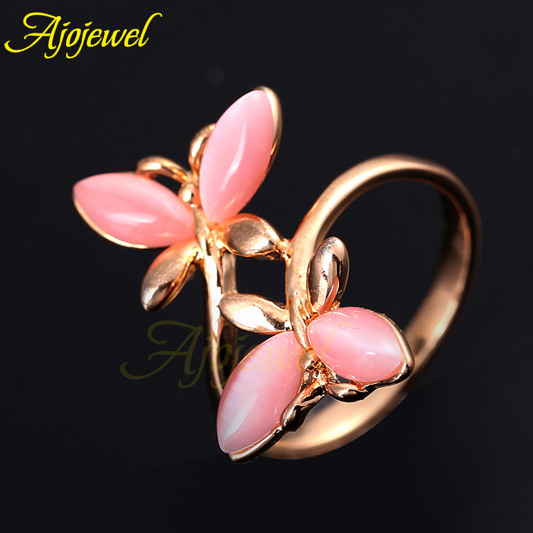 Ajojewel sweet animal design jewelry beautiful rose gold plated pink opal butterfly ring for women(China (Mainland))