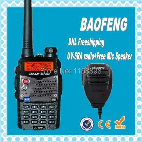 DHL freeshipping +baofeng uv-5ra Dual band 5W power VHF UHF Military Grade Portable radio long range Walkie Talkie 10km+speaker(China (Mainland))