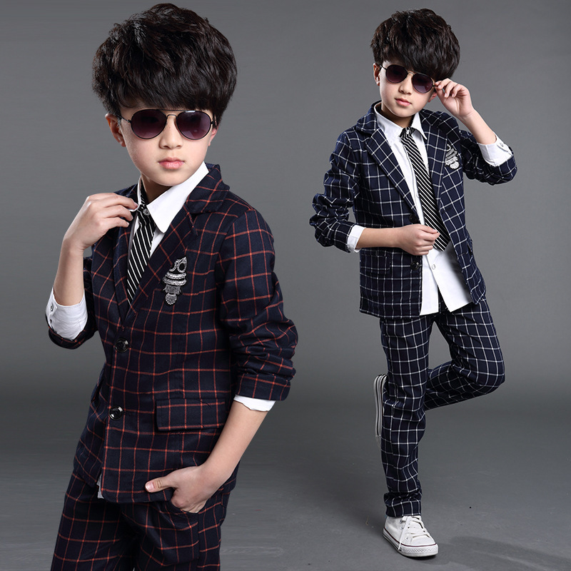 2015 Autumn Baby Plaid Blazers set Jacket+Pant 2 pieces Clothing sets Kids Blazer jackets for Boys Formal dress(China (Mainland))