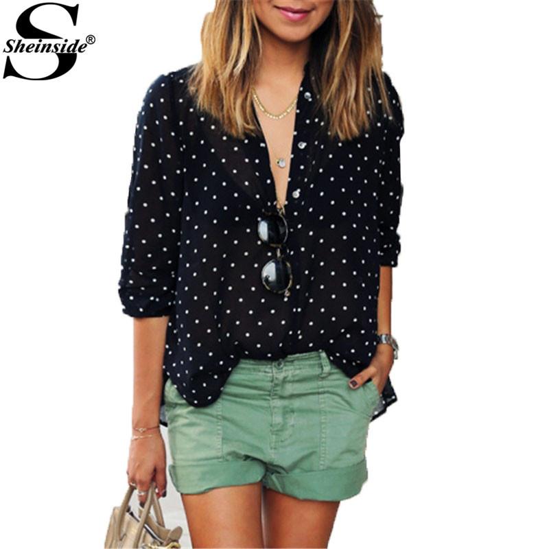 Sheinside Blusas Feminina Women Summer Korean Fashion Clothing Black Polka Dot With Buttons V Neck Long Sleeve Loose Blouse(China (Mainland))