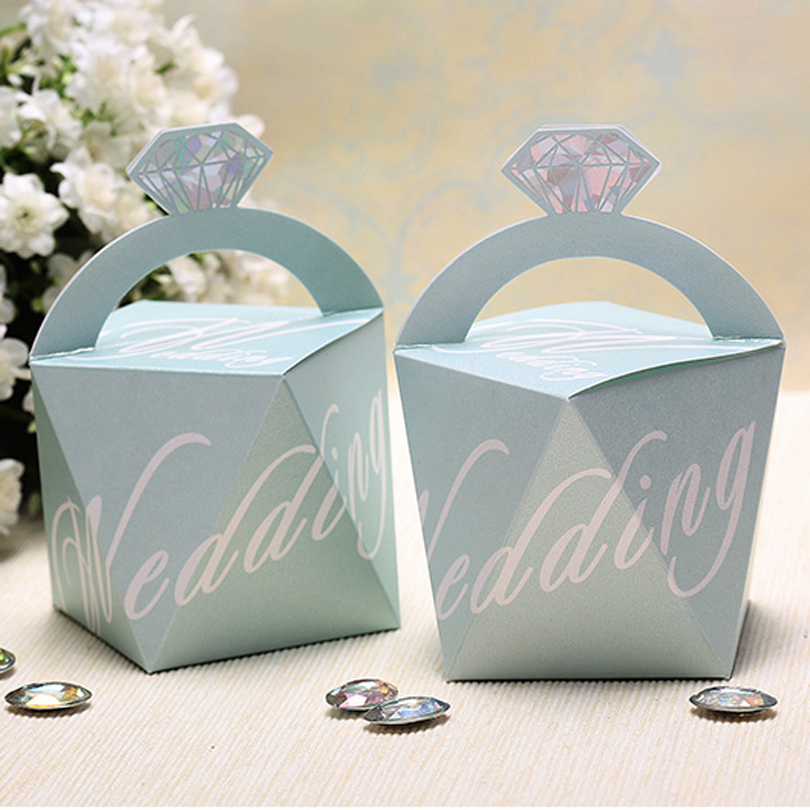 (25 pieces/lot)Romantic Wedding Favors Diamond Candy Box Light Blue And Gold Color Chocolate Box For Wedding Decoration CB2030(China (Mainland))