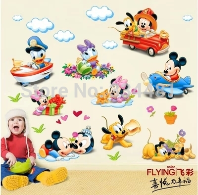 New Cartoon Kid Wall Decals Wall Stickers Home Decor DIY Wallpaper Aircraft Sticker Home Mickey Mouse Mural Poster Nursery Art(China (Mainland))