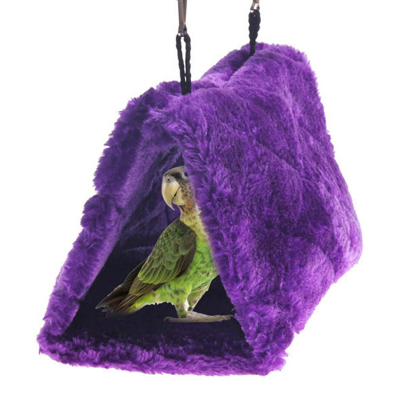 V1NF Bird Hanging Hammock Hut Happy Hut Tent Plush Parrot Toy Bunk Bed Purple Medium M DHL EMS FeDex Free shipping Mail(China (Mainland))