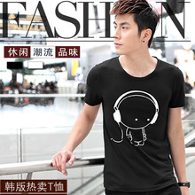Mens T Shirts Fashion 2015 Headset Cartoon Printed Casual T Shirt Men Brand T-shirt Marcelo Burlon Cotton Tee Shirt M-XXL