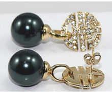 shitou 00725 18K GP 12mm black SOUTH SEA SHELL PEARL crystal flowers EARRING Special discount 40%(China (Mainland))