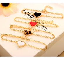 L077 New 2016 Girl Jewelry Pulseira Vintage Cheap Gold plated Heart Bracelets For Women Wholesale Bangle Wedding Bijoux pulseras(China (Mainland))