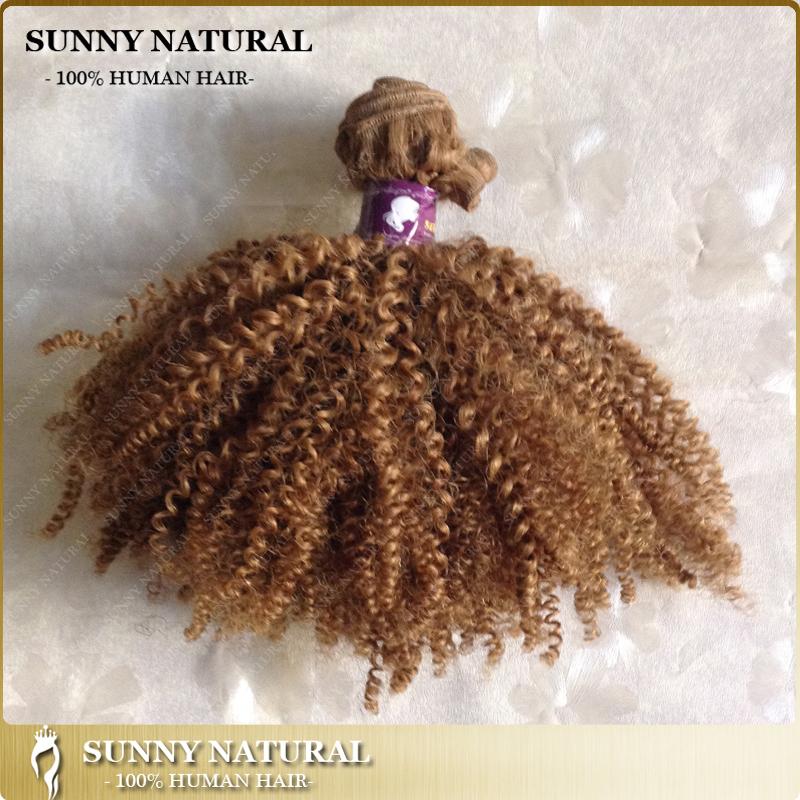 "10"" 12"" 14"" 16"" 18"" 20"" Kinky Curly Hair Brazilian Hair Weft Color#27 100g/pc Human Hair Weaving(China (Mainland))"