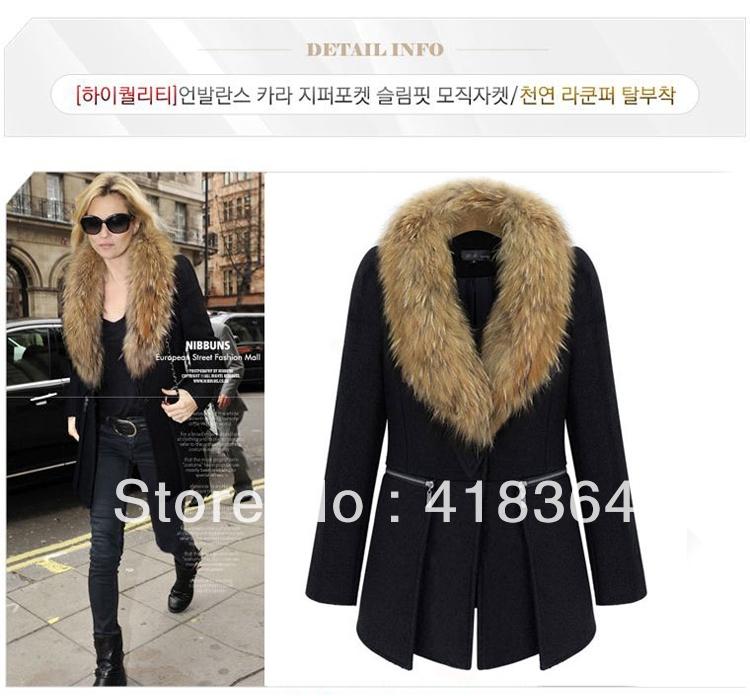 2013 fashion medium-long plus size clothing large fur collar woolen overcoat mm outerwear suit