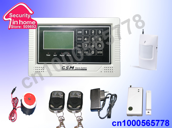 Фотография touch screen keyboard home security LCD GSM alarm system with intercom and voice reminder free shipping
