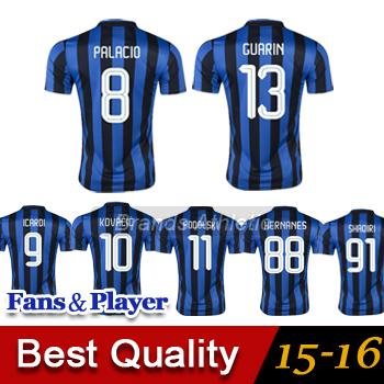 New 15/16 soccer jerseys camisas de futebol Milan 15 16 KOVACIC HERNANES VIDIC SHAQIRI ICARDI GUARIN football shirts(China (Mainland))