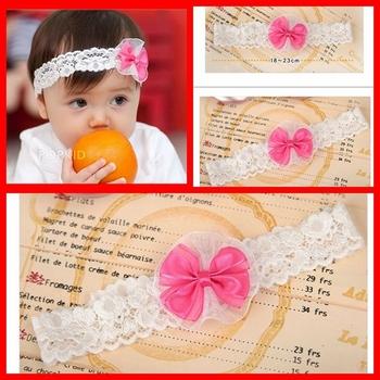 10pcs/lot Baby Headbands Hairband Headwear Fashion Cute Pink Bowknot Lace Elastic White Headband Free Shipping S-HB005