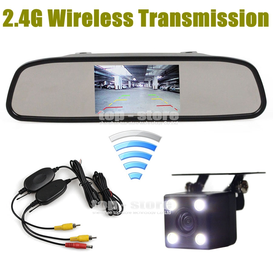 Wireless Auto HD Parking Monitors System LED Night Vision CCD Rear View Camera With 4.3 inch Car Mirror Monitor(China (Mainland))
