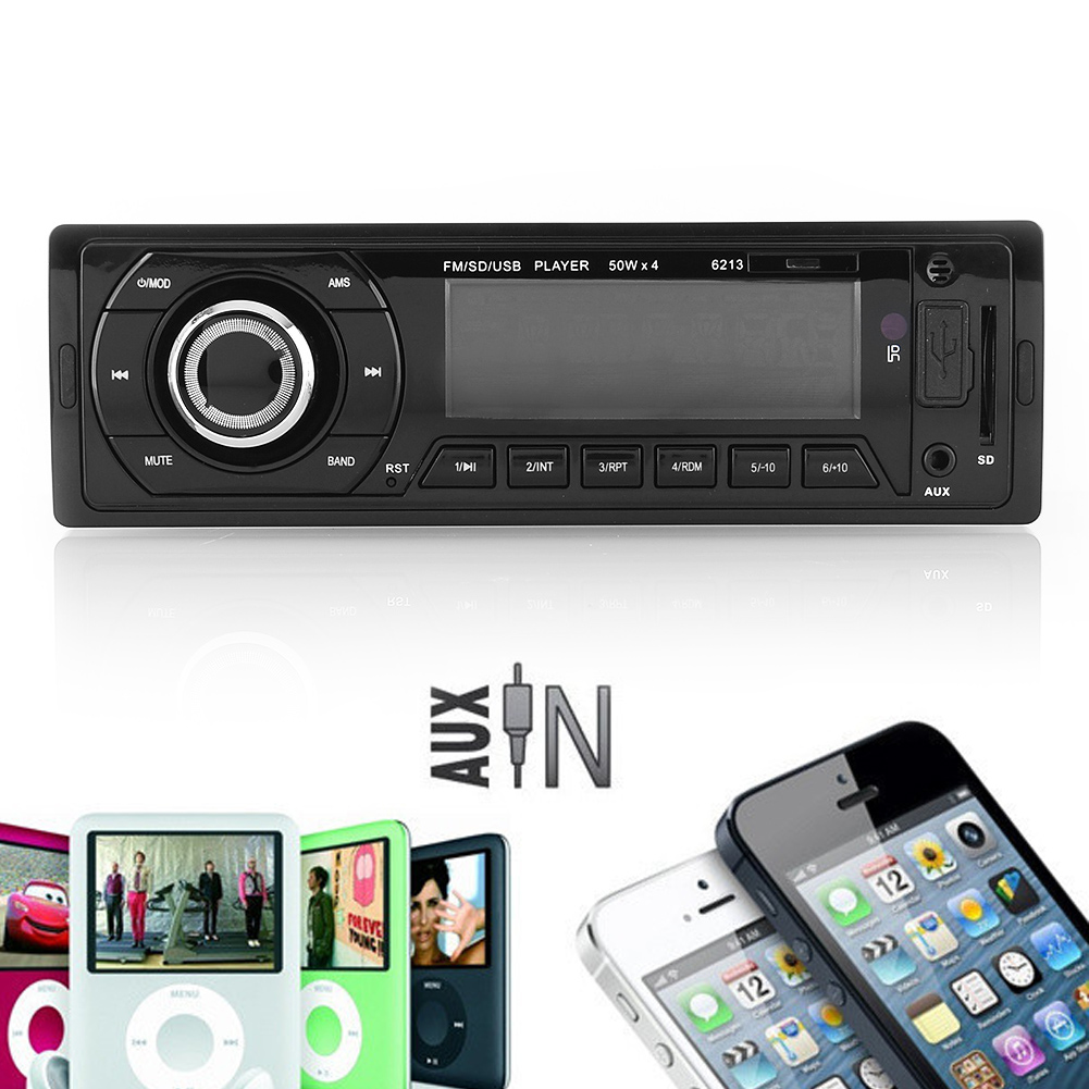 Car Vehicle Audio Sound Stereo In-Dash Radio USB/SD/AUX/MMC Input FM Receiver 12V 6213 Auto Memory Store Preset Scan(China (Mainland))