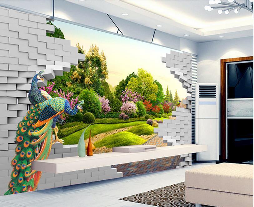 Compra jard n mural de la pared online al por mayor de for Murales en 3d para salas