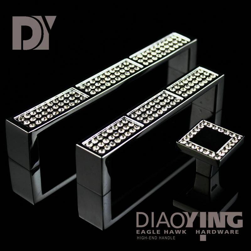 Hot top luxury diamond crystal handle modern minimalist metal cabinet drawer wardrobe door handle European(China (Mainland))