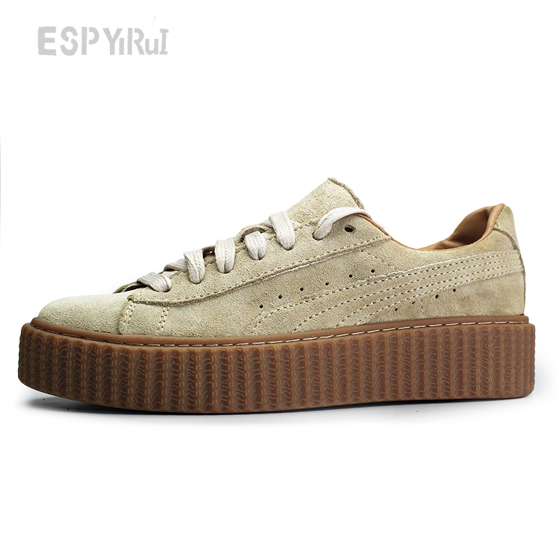 BIG size 35-43 2016 New Style Rihanna Suede Rubber  Women and men Casual Shoes Genuine Fashion Platform Shoes GXGA001<br><br>Aliexpress