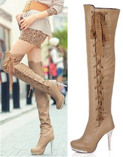 Free shipping rhinestone lace up over the knee boots,fashion waterproof high heel boots<br><br>Aliexpress