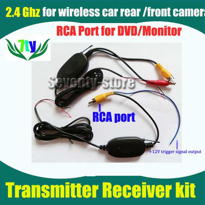 2.4G Wireless signal receiver/emitter for car rearview frontview camera universal RCA port For car DVD/Monitor radio(China (Mainland))