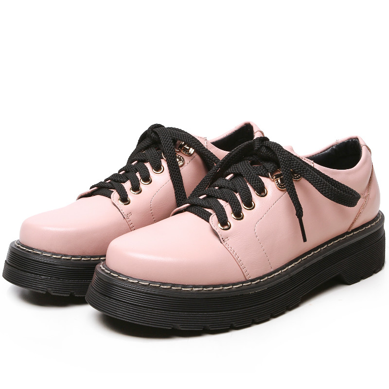 spring autumn soft genuine full grain leather flat heel single shoes women 2016 pink black lace-up platform flats oxfords shoe<br><br>Aliexpress