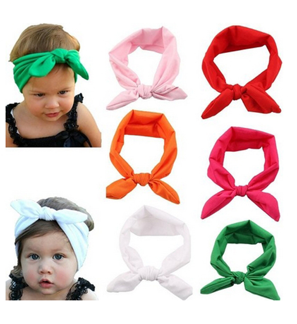 1 Piece Baby Toddler Kids Rabbit Bow Hairband Turban White Knot Headband Vintage Headwear Head Wrap Girl Hair Accessories(China (Mainland))
