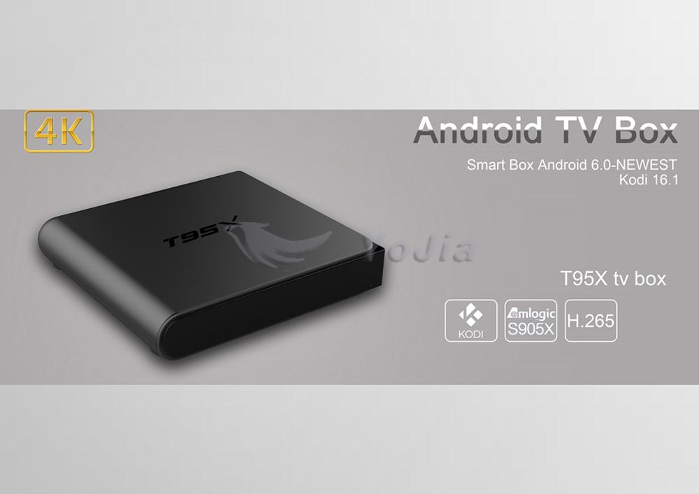 ถูก T95X Amlogic S905x Android 6.0กล่องทีวีQuad Core 2กิกะไบต์16กิกะไบต์ตัวเลือกKODI 16.1เครื่องเล่นสื่อสมาร์ทT95x S905xตั้งกล่องด้านบน