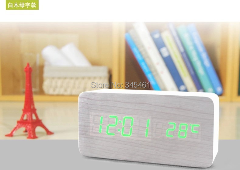 Alarm Clock No noise No Disturb Auto sensor Led wood clock friendly Square Led clock put aside anywhere wake up you any time(China (Mainland))