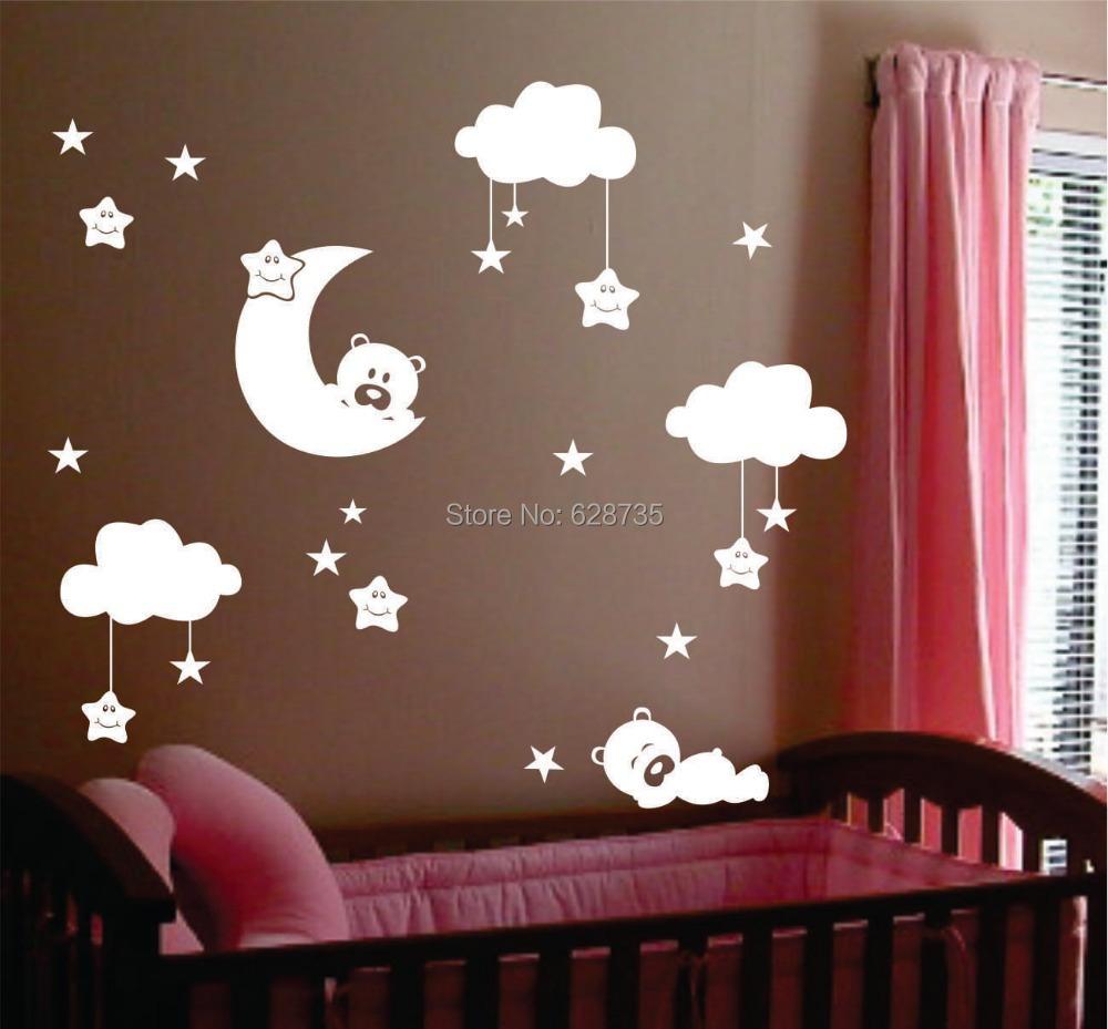 Commentaires ours lune faire des achats en ligne - Stickers muraux nuages blancs ...