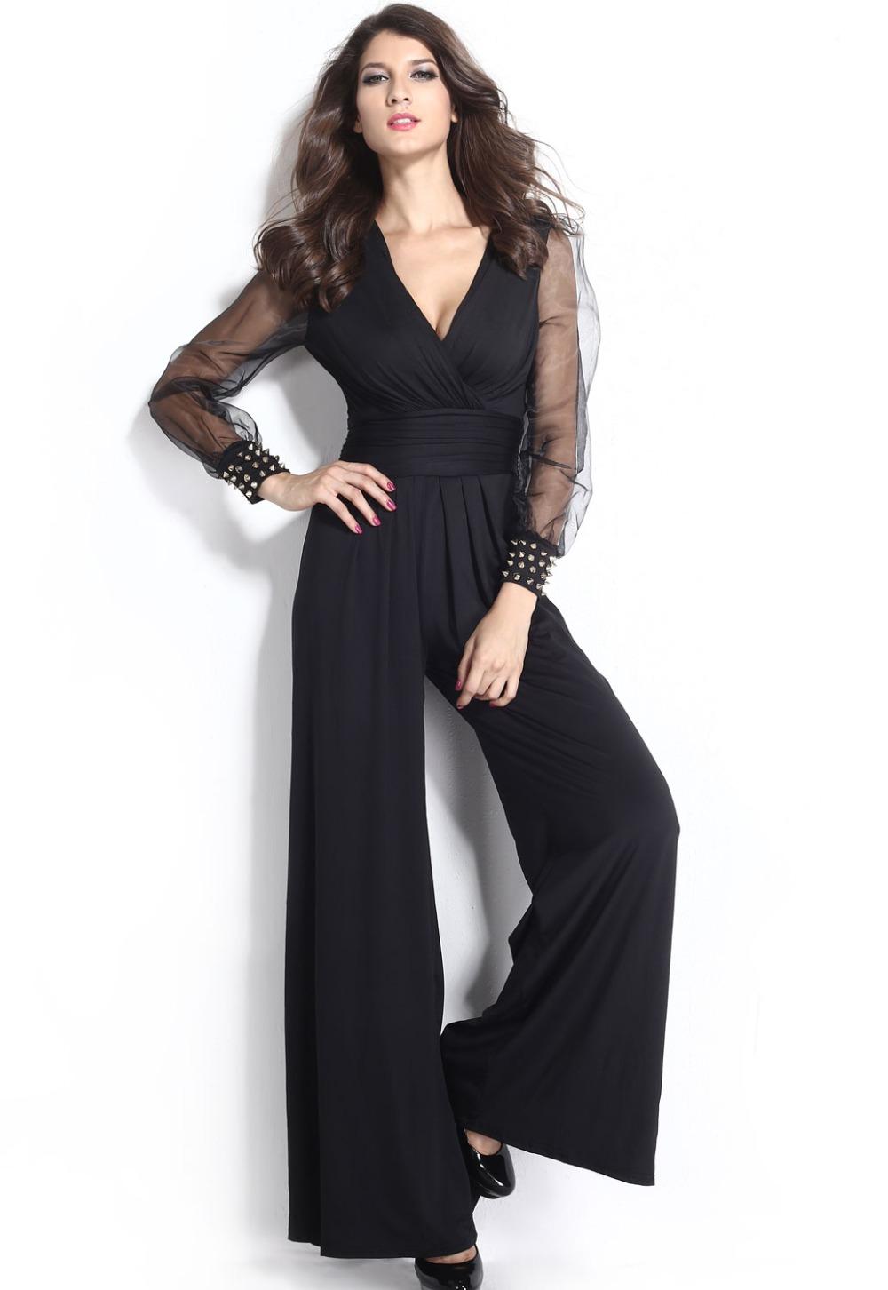 Elegant  Cut Outs Sleeveless Black Halter Neck Wide Leg Elegant Jumpsuit LC6835