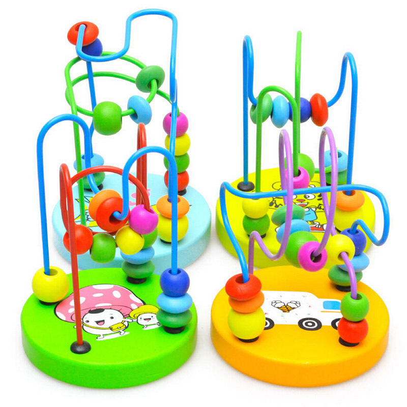 Hot Children Kids Baby Colorful Wooden Mini Around Beads Educational Game Toy#F30133(China (Mainland))