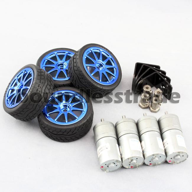 OPHIR 4Pcs DIY Kits Smart Car Robot Motors with Wheels Motor Bracket RC Parts Accessory Toys & Hobbies Rubber Tires_KD101-4x(China (Mainland))