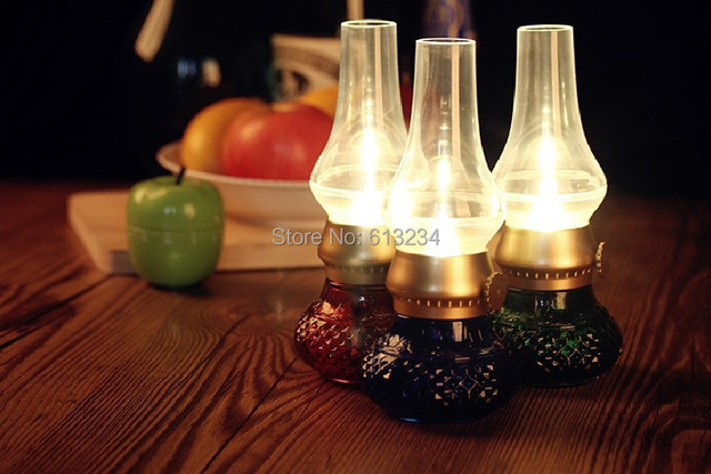 Free Shipping 1Piece USB Retro Blowing Control Kerosene Lamp Rechargeable LED Night Light