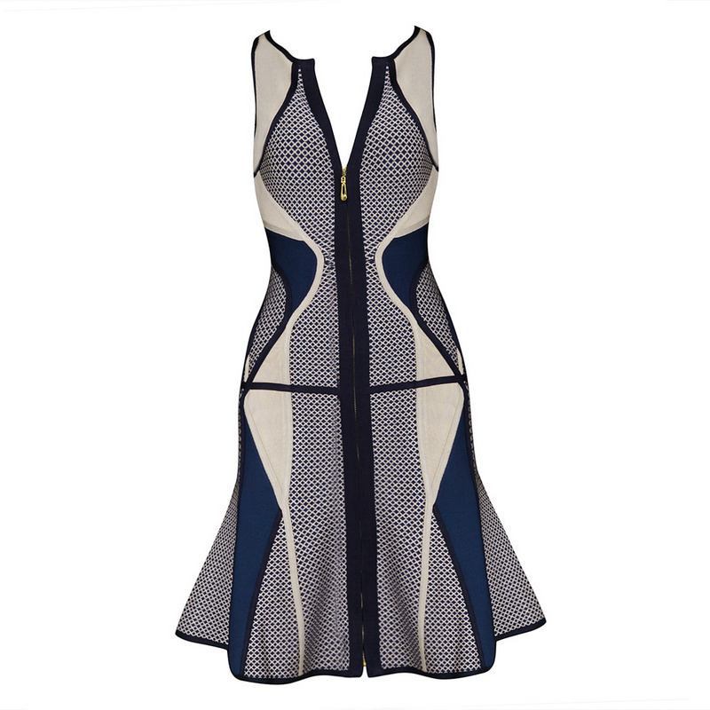 Claire Sunshine 2015 Blue O Neck Sleeveless Ruffles A Line Jaquard Front Zipper Sexy Party HL Womans Bandage Dresses Dress H1308Одежда и ак�е��уары<br><br><br>Aliexpress