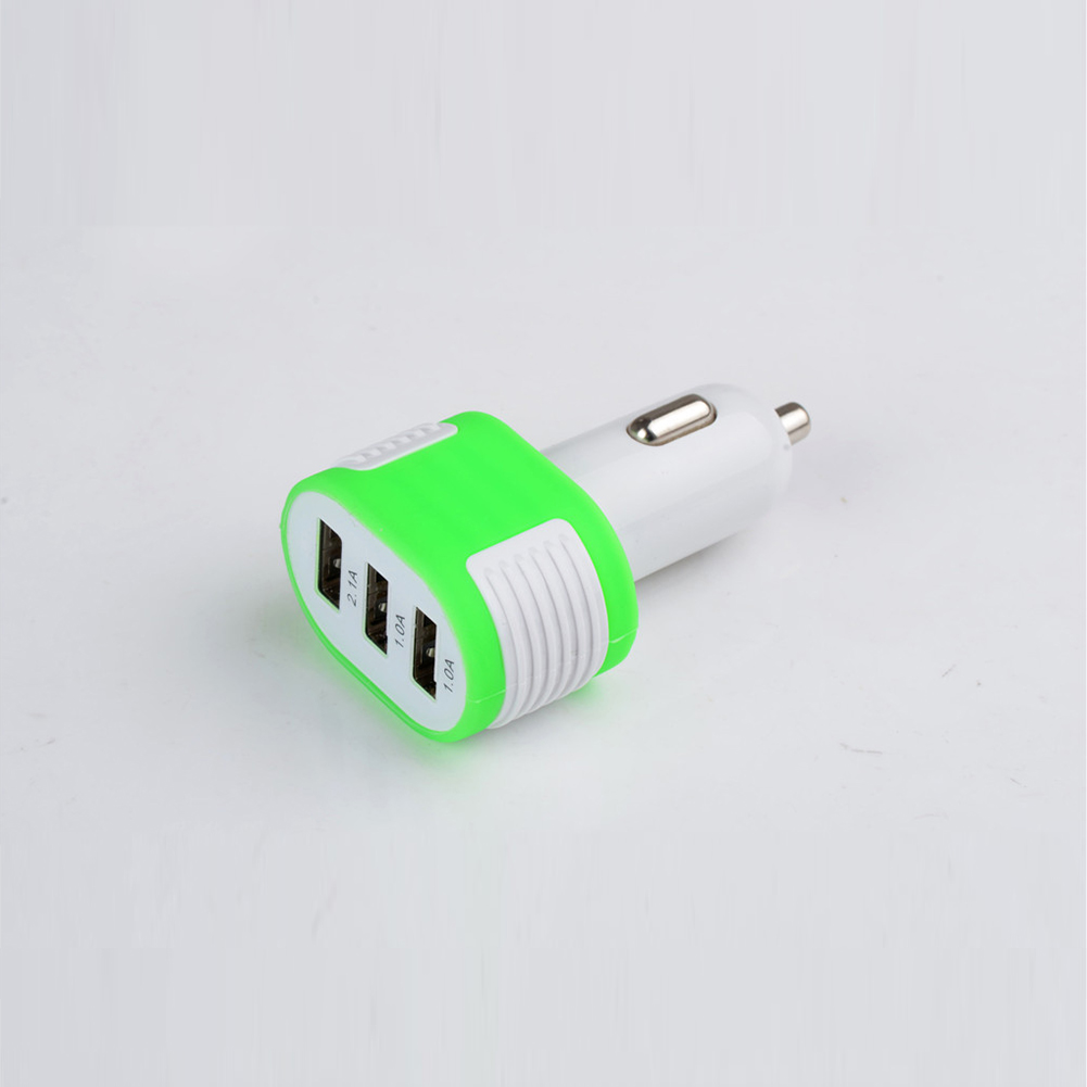 Adapter Voltage DC 5V Car Charger Universal NEW 3 USB Port for iPod iPhone Samsung Multi Colors Car Cigeratte Power Charger(China (Mainland))