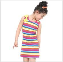 High Quality Iridescence Cotton Dress For Kids Girl Summer Dress 2105 Child Wear Princess Dress Summer
