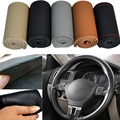 Genuine leather Car steering wheel cover Universal 38cm 15 hand stitched Auto Steering Wheel Cover 5