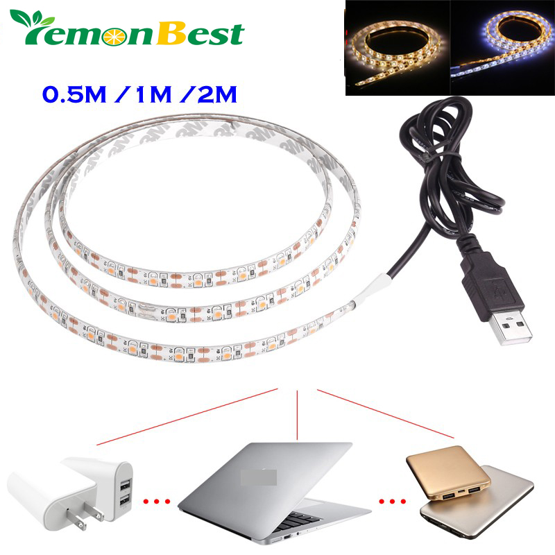 Free shipping 5V USB Cable LED strip light lamp SMD3528 50cm 1m 2m Christmas Flexible led Stripe Lights TV Background Lighting(China (Mainland))