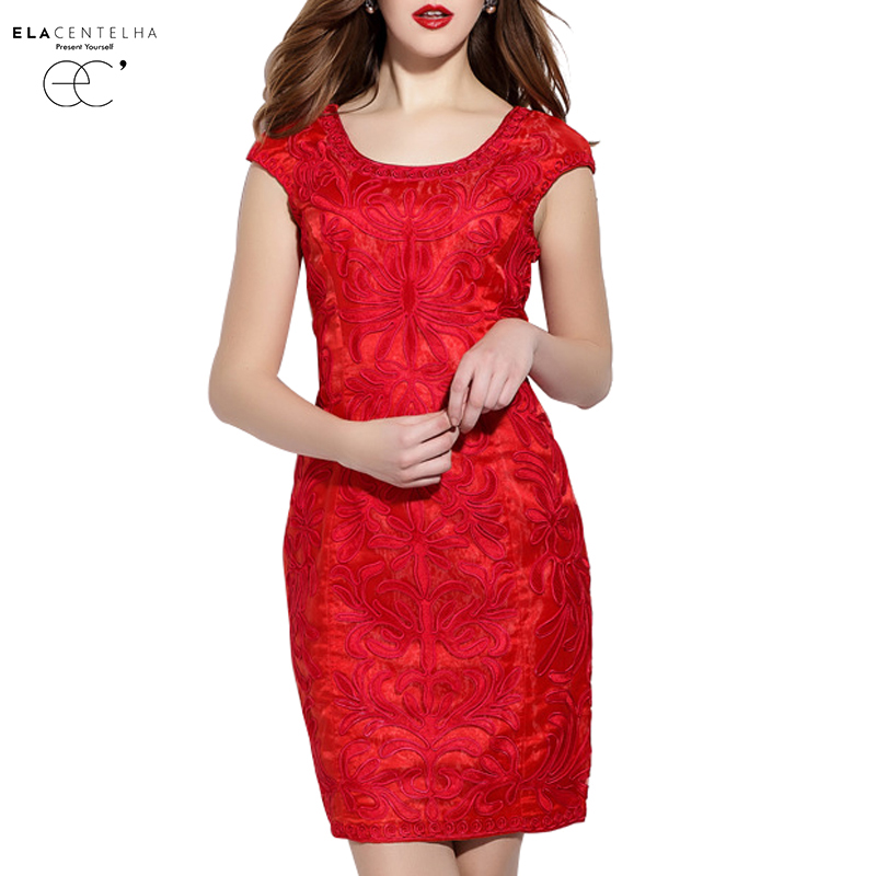 ElaCentelha Brand Dress Summer Women High Quality Lace Embroidery Solid Bodycon Dress Sleeveless Empire Bandage Pencil DressesОдежда и ак�е��уары<br><br><br>Aliexpress
