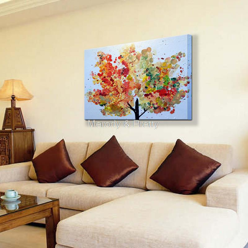 Free shipping 100% Hand painted Wall Art colorful tree flower beautiful busy hot season Oil Painting Decorative living room gift(China (Mainland))