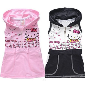 BD016,Free shipping 2013 New arrive children vest dress Hello kitty girl hooded sundress 2 colors summer baby dresses Retail