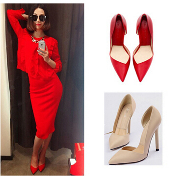 Hot Sale! Brand New Design Women Pumps Apricot Red Stilettos Super High Heels Pointed Toe Fashion Bridal Ladies Woman Shoes A8-8 - fashion store