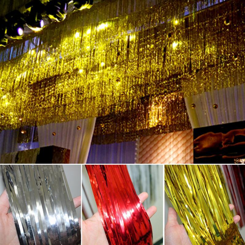 Online Buy Wholesale Christmas Ceiling Hanging Decorations: 2019 Wholesale 1M*2M Metallic Foil Fringe Door Curtains
