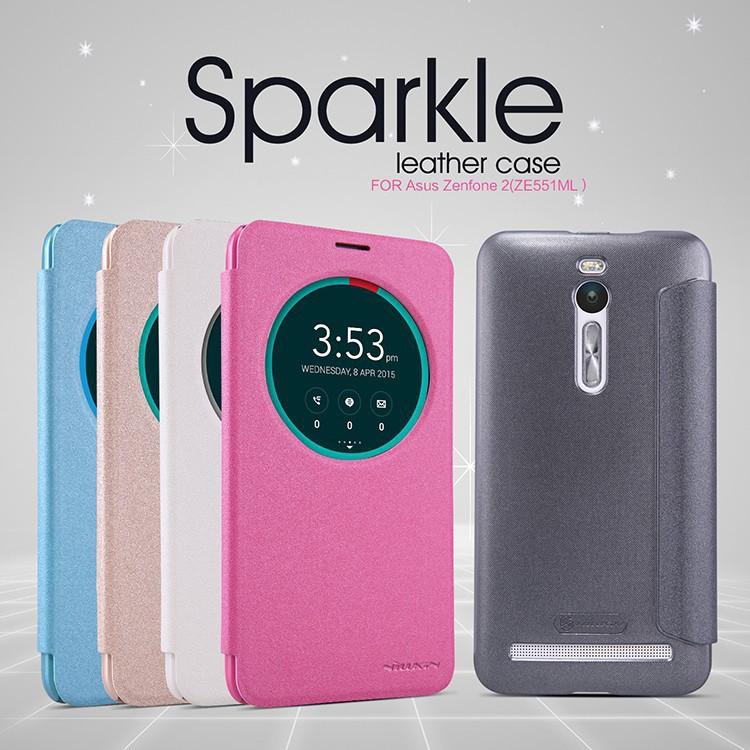 100% Genuine Nillkin sparkle series glittery smart leather case cover for ASUS ZenFone 2 ZenFone2 ZE551ML ZE550ML phone bag skin(China (Mainland))