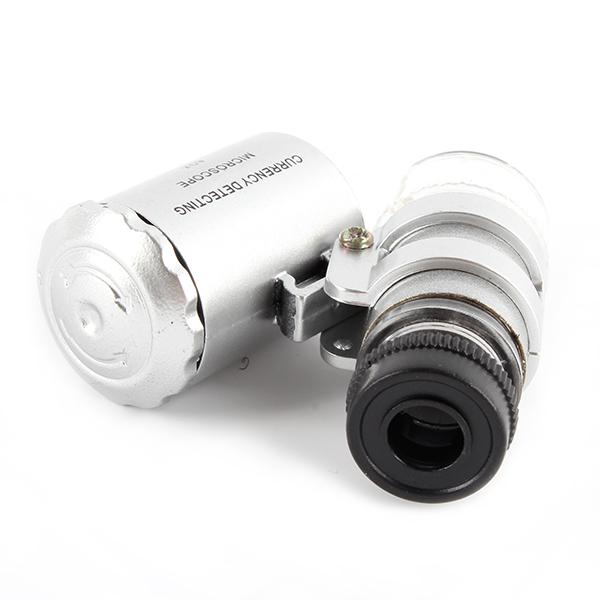 1x Mini Microscope Pocket 60x Magnifier Handheld Jeweler LED Lamp Light Loupe(China (Mainland))
