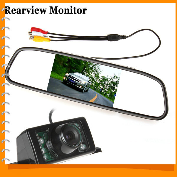 [SALE] 480 x 272 4.3 Inch TFT LCD Car Rear View Mirror Monitor Parking Rearview Monitor + 7 IR Lights Car Reverse Camera(China (Mainland))