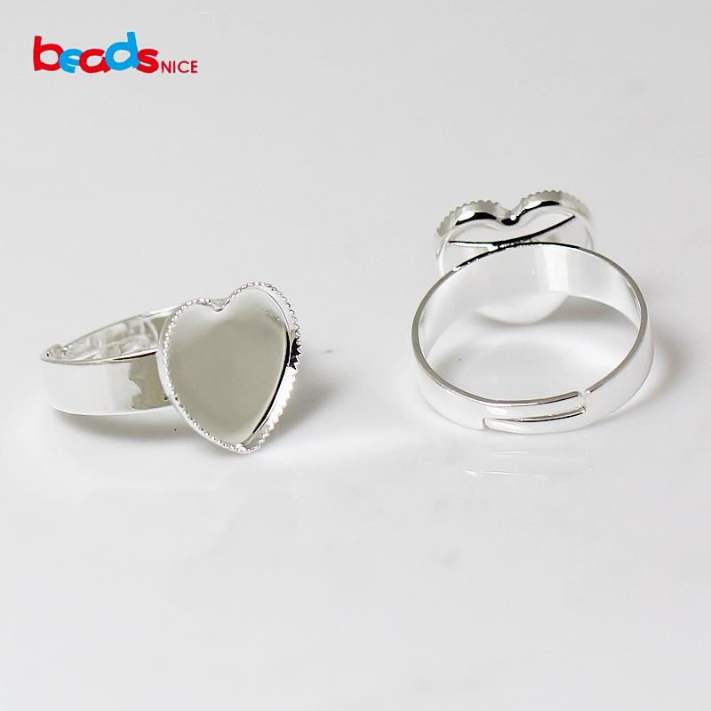 Beadsnice fashion jewelry finding rings blank setting accessory ring base size 7# lead-safe nickel-free heart 12mm diy ID 24114(China (Mainland))