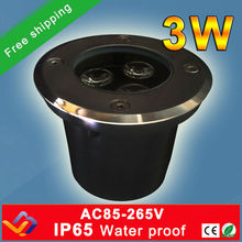 Free shipping!!! 10pc/lot  Factory direct sale 3*1W D60MM*H70MM LED underground light IP65  Buried recessed  floor outdoor lamp(China (Mainland))