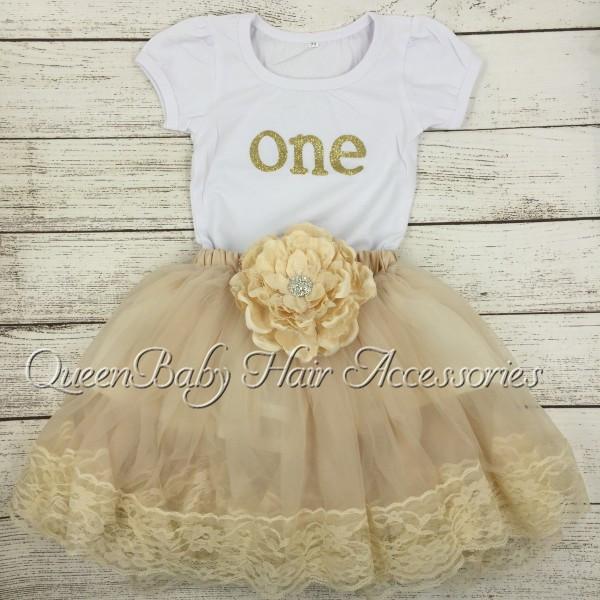 10set/lot   Baby Birthday Shirt  Petti Skirt  Gold  Birthday Outfit <br><br>Aliexpress