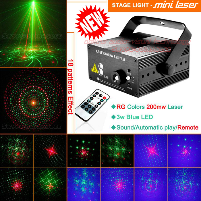 New Red Green 18 kind of pattern Laser Projector Club Lighting Party Disco Laser Light Stage Effect Blue LED Laser Show System(China (Mainland))