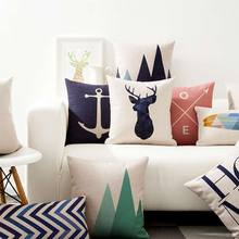 Free Shipping!!Nordic geometric square throw pillow/almofadas case adult teen child kid,scenic deer cushion cover home decore(China (Mainland))