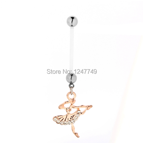 1PC PTFE Flexible Navel Piercing Pregnancy Maternity Bar Ring Body Belly Piercing Rose Gold Plated Angel Pregnant Belly Rings(China (Mainland))
